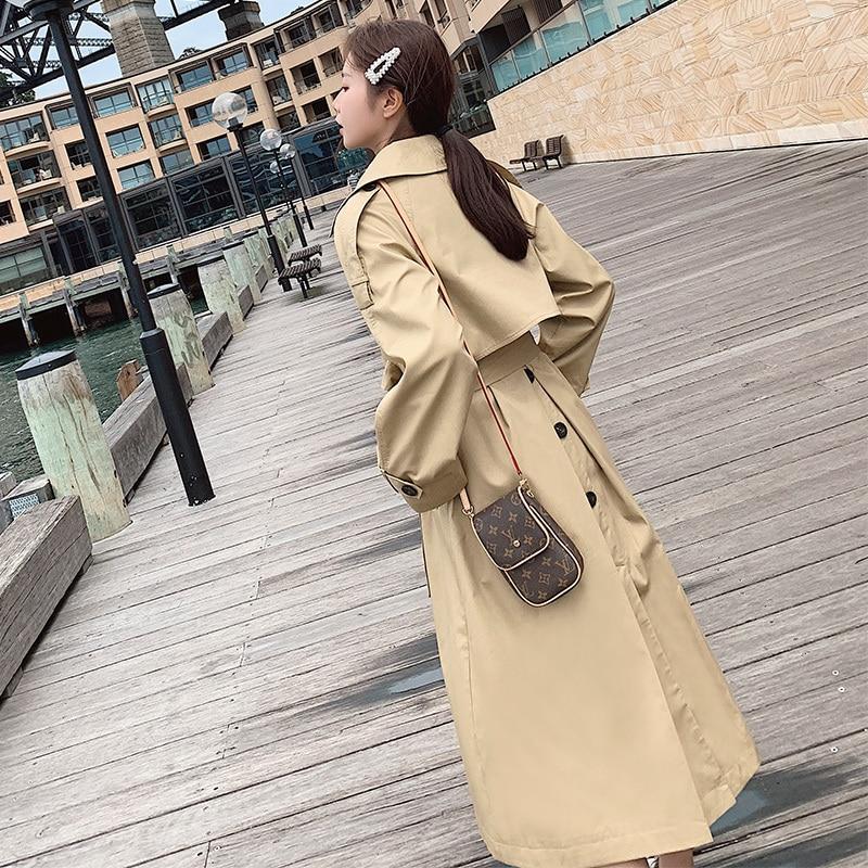 2020 Early Spring Windbreaker Women's Mid-length New Korean Version Casual Long Knee-length Autumn Ladies Trench Coat Khaki