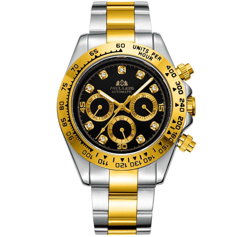 Часы мужские механические с автоподзаводом, модные спортивные роскошные золотистые черные из нержавеющей стали с камнями и стразами