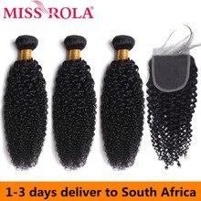 Miss Rola Peruaanse Haar Bundels Met Sluiting Kinky Krullend 3 Bundels Met 4*4 Sluiting 100% Menselijk Haar Remy hair Extensions