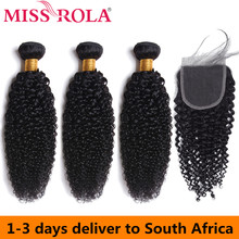 Miss Rola Peruvian Hair Bundles with Closure Kinky Curly 3 4*4 100% Human Remy Extensions