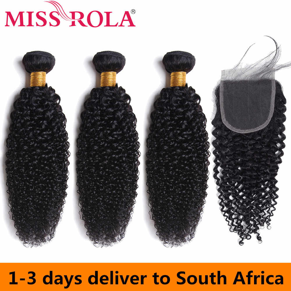 Miss Rola Peruvian Hair Bundles with Closure Kinky Curly 3 Bundles with 4*4 Closure 100% Human Hair Remy Hair Extensions