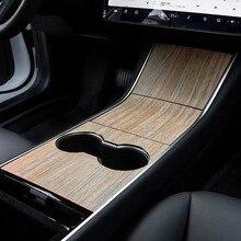 Tesla modeli 3 araba merkezi kontrol paneli Sticker iç araba koruyucu Film karbon Fiber ahşap tahıl yeni aksesuarlar