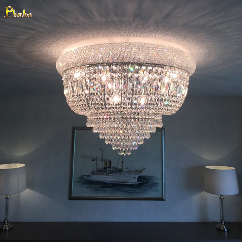 H76bd7734a4f24839991cab0a47daf631z Phube Lighting Empire Gold Crystal Ceiling Light Luxury K9 Crystal Ceiling Lamp Lighting Lustre Free Shipping