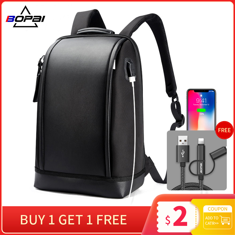 Mens Anti-Thief Waterproof External USB Charge Laptop Backpack Shoulder Bag Pack