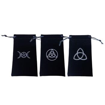 Flocking Tarot Card Storage Bag Runes Witchcraft Supplies Toy Jewelry Mini Drawstring Bags Family Board Games Witch Tarot Deck image