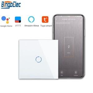 Image 1 - Bingoelec 1 כנופיית 1 דרך WiFi חכם מתג גביש זכוכית לוח קיר אור מתג האוטומציה הבית חכם אלחוטי עבודה עבור alexa