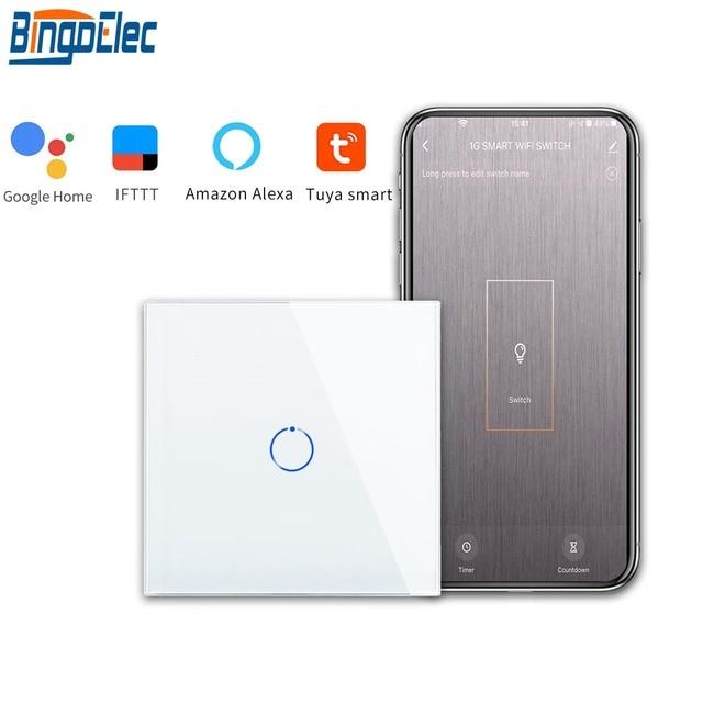 Bingoelec 1 כנופיית 1 דרך WiFi חכם מתג גביש זכוכית לוח קיר אור מתג האוטומציה הבית חכם אלחוטי עבודה עבור alexa