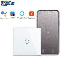 Bingoelec 1ギャング1ウェイwifiスマートスイッチクリスタルガラスパネルウォールライトスイッチスマートホームオートメーションワイヤレス作業のためalexa