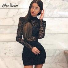 2020 nowe z wiskozy letnie sukienki damskie bandaż Sexy nawet obcisła koronkowa obcisła sukienka czarna sukienka bandaż z długim rękawem Mini sukienka