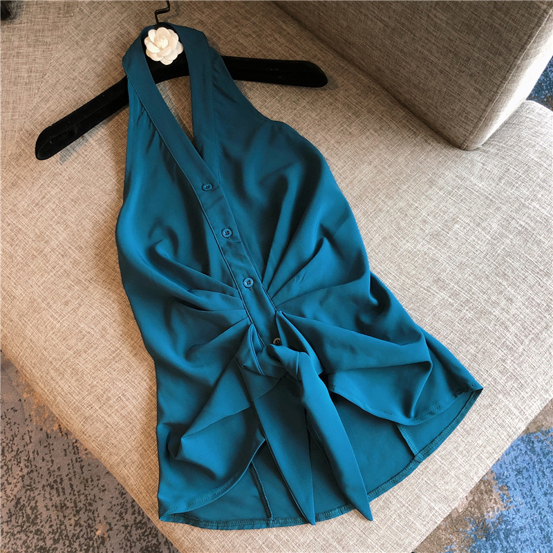 Women Sleeveless Blouse Summer Sexy Shirt New Sexy Backless Sleeveless Halter Chiffon Shirt Blouses Ladies Tops Blusas Blusa -