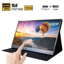 15.6 Polegada tela de toque portátil led monitor fhd USB-C computador display ips vesa com hdmi tipo c para computador portátil ps4 xbox telefone