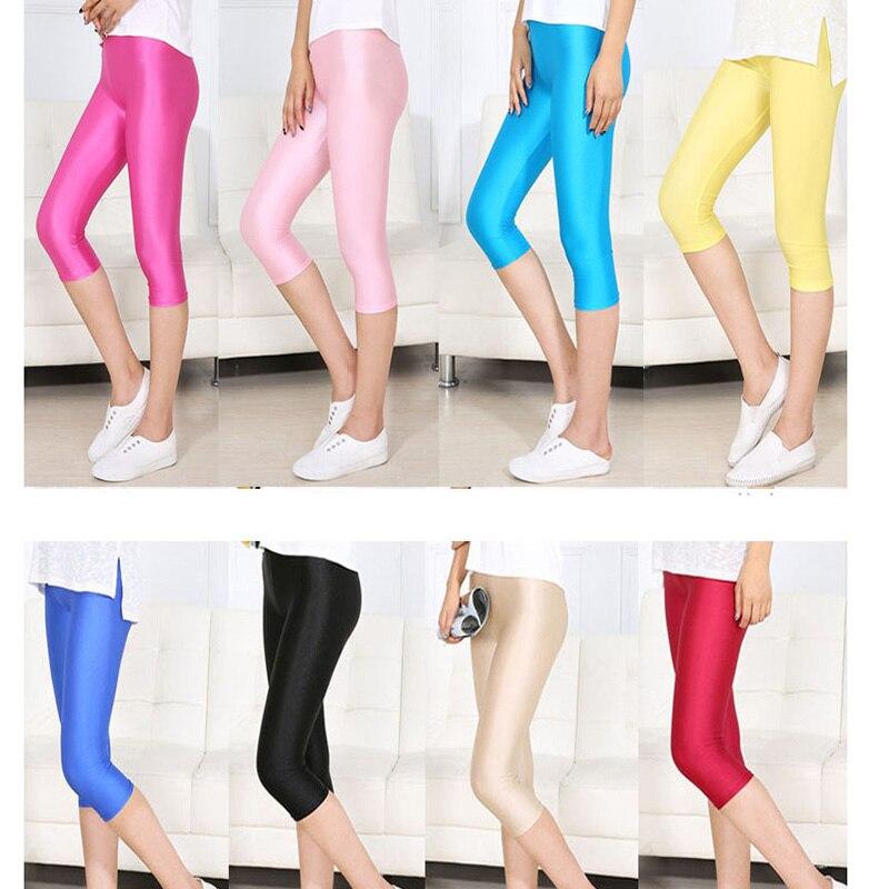 NDUCJSI Summer Short Female Fitness Leggings Women Sexy Capris Neon High Waist Jeggings 7XL Spandex Candy Thin Plus Size Pants