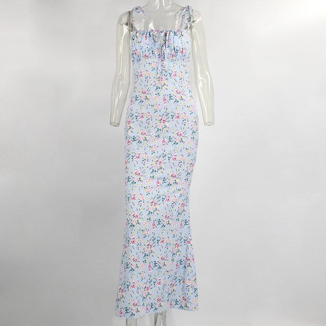 Tobinoone Sexy V-Neck long maxi dress Elegant vintage floral printed party dress Spring summer holiday style dresses vestido 5