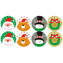 80pcs/pack Round Cute Snowman Santa Smile Bear Packaging Baking Seal Stickers For Gifts