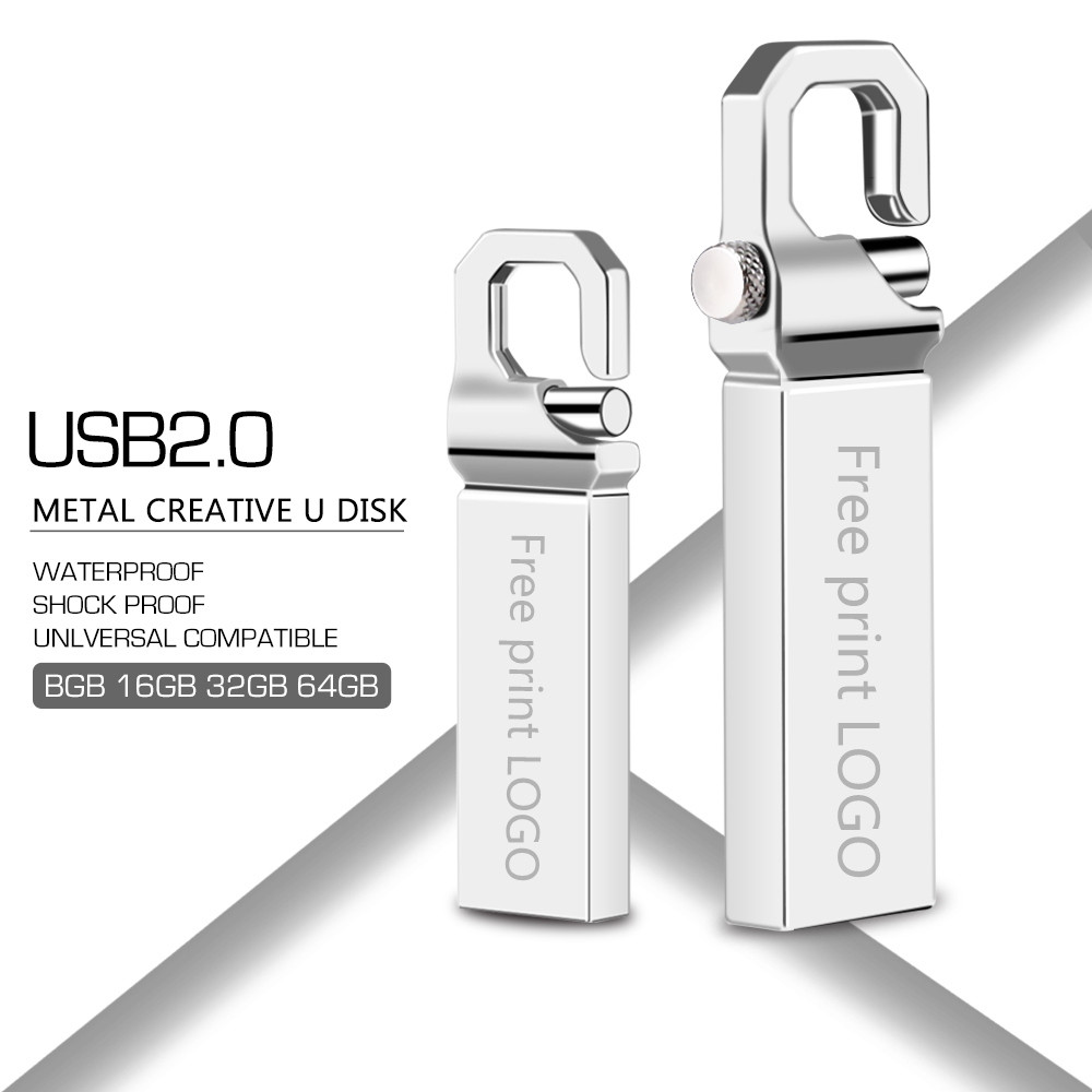 Metal Usb Flash Drive 32GB Pendrive 64GB Key Cle Usb 128GB Waterproof Flash Stick 16GB Pen Drive 8GB Memoria Usb 2.0 Print LOGO