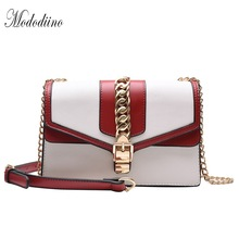 Mododiino Panelled Shoulder Bag Women Chains Crossbody Feamle Small Flap Lock Messenger Leather DNV1219