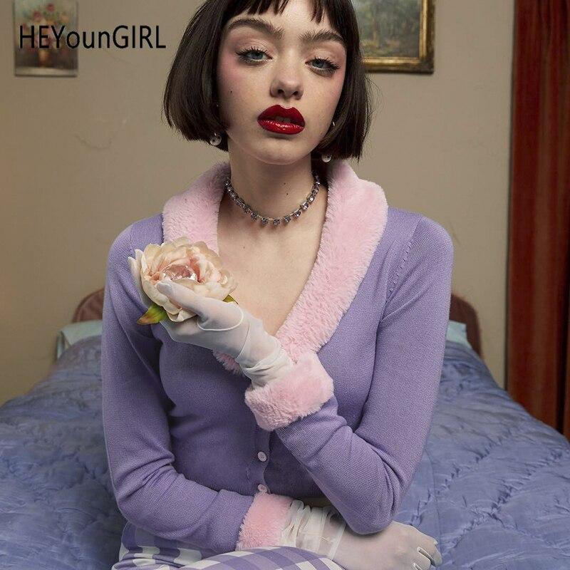 HEYounGIRL Patchwork Furry Cardigan Women Autumn Long Sleeve Crop Knitted Sweater Kawaii Korean Jumper Ladies Knitwear Winter