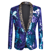 Autumn and winter new men's two-color sequins slim suit stage costume nightclub bar DJ singer blazer performance clothing