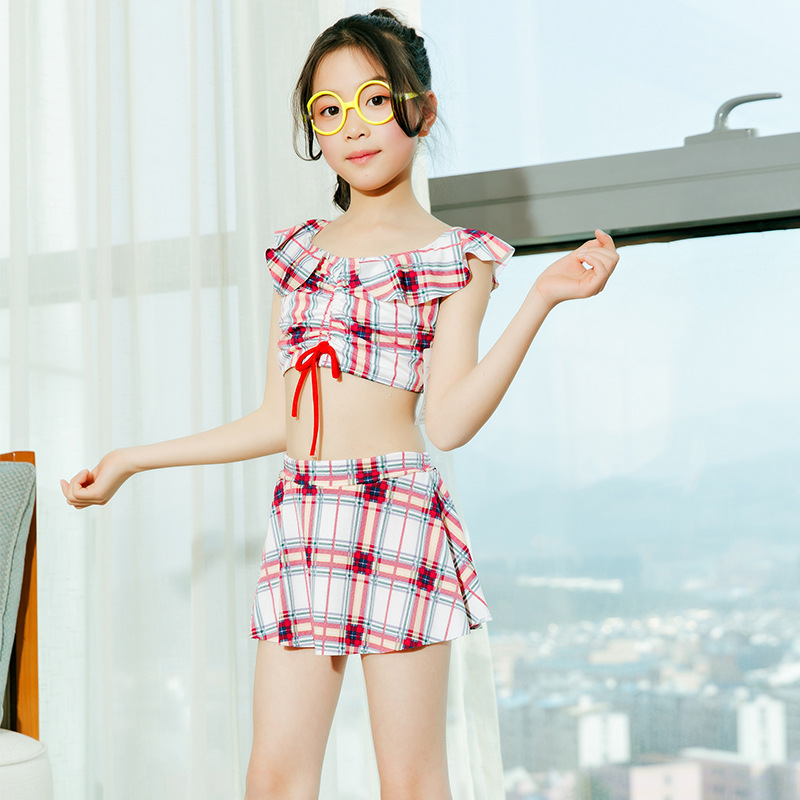 Girl'S Swimsuit 2019 New Style Princess Dress-Two-piece Swimsuits Qmilch Plaid Children Tour Bathing Suit Students Swimwear