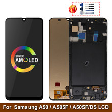 Super AMOLED For Samsung Galaxy A50 SM-A505FN/DS A505F/DS A505 LCD Display Touch Screen Digitizer With Frame For Samsung A50 lcd