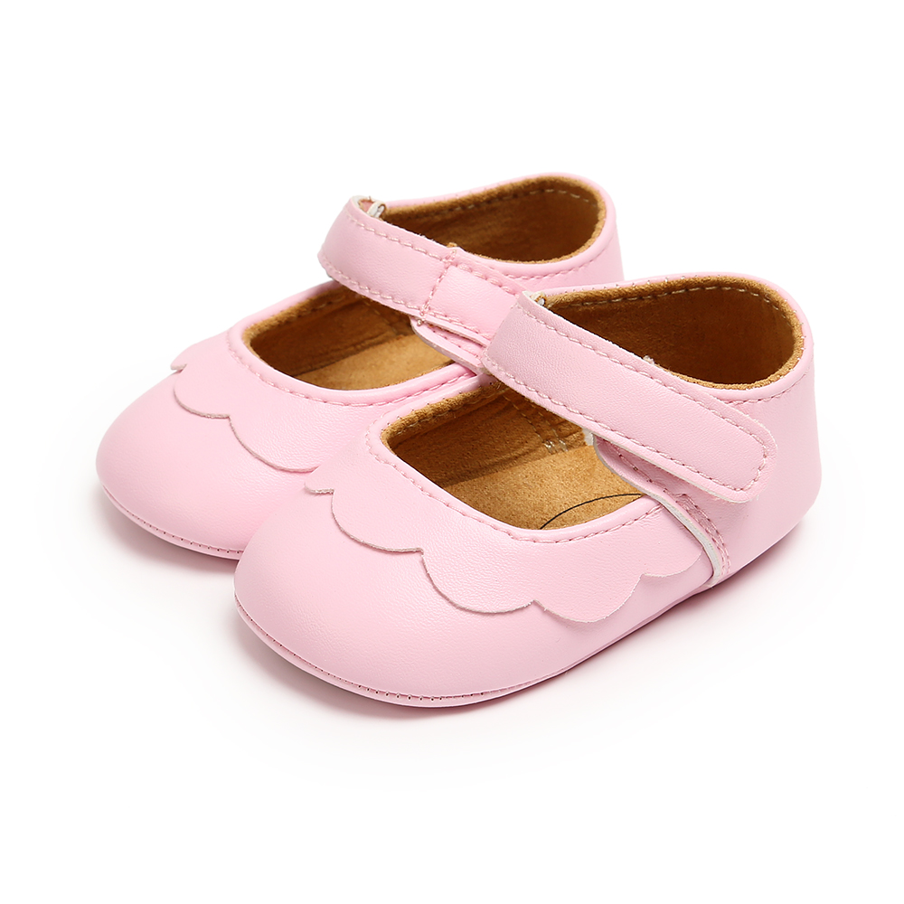 Baby Moccasins Baby Girl Shoes PU Leather Shoes With Rubber Sole Anti-slip First Walkers Newborn Girls Pink White Black Shoes L
