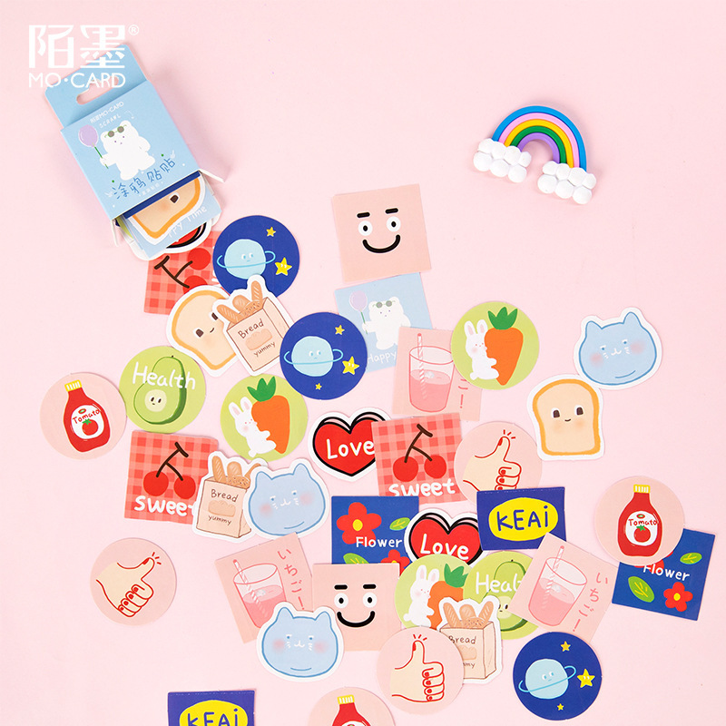 SIXONE 45 Sheets Cute Cartoon Doodle Decoration Stickers Hand Account Diy Seal Sticker Notebook Kawaii Label Sticker Stationery