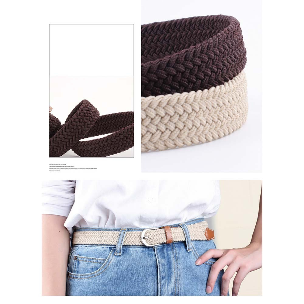 Knitted Pin Buckle Belt Woven Canvas Elastic Stretch Belts Plain Webbing Fashion 100-120cm Belts For Men/Women
