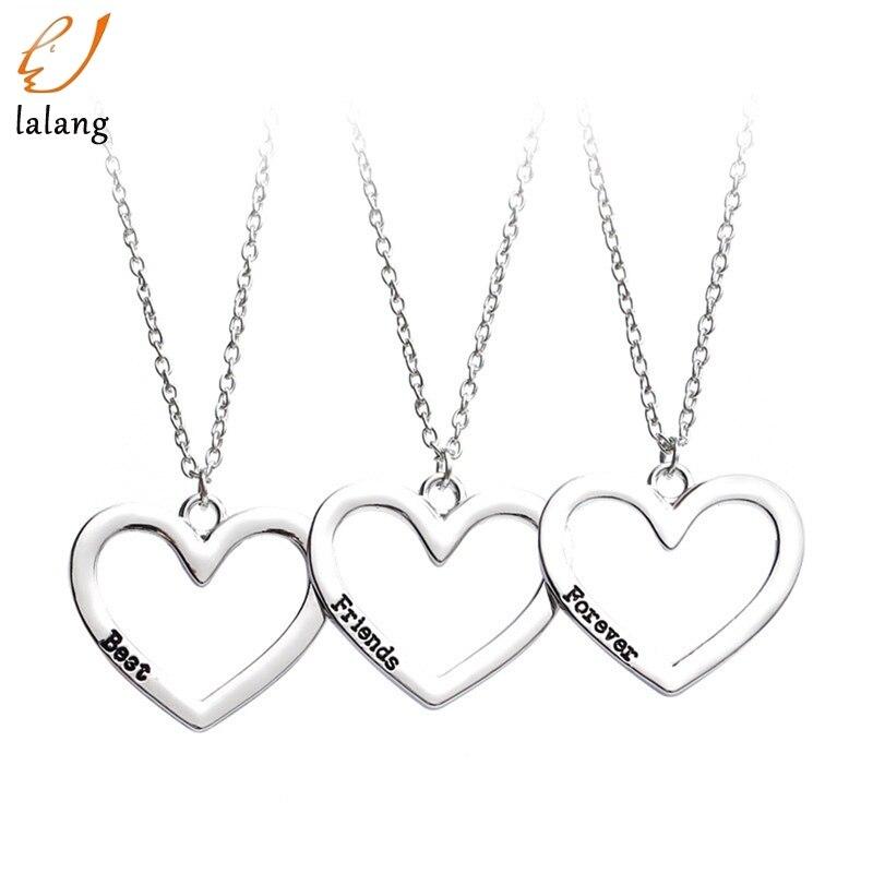 3 шт./компл. кулон для трех лучших друзей навсегда сердце подвеска для лучших друзей ожерелье для женщин Девушка ювелирные изделия ожерелья ...