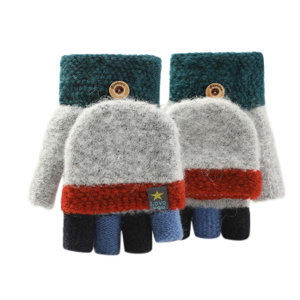 Winter Children Warm Gloves 6-12 Years Primary School Cashmere Knit Flip Half Finger Gloves Cartoon Mittens For Boys Girls #4