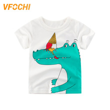 VFOCHI Brand New Boys T Shirt Cartoon Dinosaur Print Kids T Shirt 2-10Y Teenager Boy and Girl Tops Children Clothes Boy T Shirts цена и фото