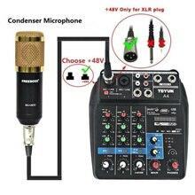 A4 Sound Mischpult Bluetooth USB Rekord Computer Wiedergabe 48V Phantom Power Delay Repaeat Wirkung 4 Kanäle USB Audio mixer