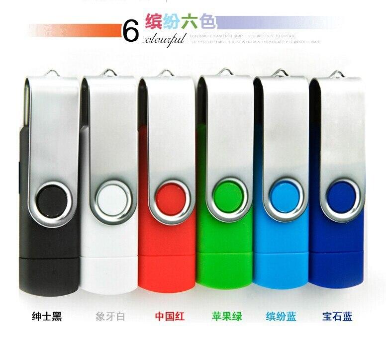 High Speed USB 2.0 OTG Pen Drive 64GB Metal USB Flash Drive 128GB 32GB 16GB 8GB Double Use Pendrive Flash Drive