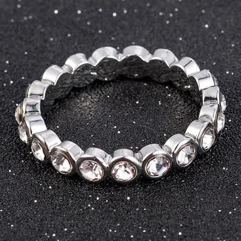 2020 New Fashion Jewelry Women Wedding Rings Round Cut White Zircon Ring Size 6-10 Christmas Gift 3