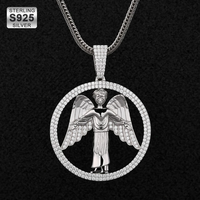 DNSCHIC Iced Out Pendant Round Shape Iced Angel Wing Pendant in 925 Sterling Silver with Necklace Hip Hop Jewelry for Men Women