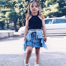 ZAFILLE 2020 New Baby Girl Clothes Cotton Sleeveless Top+Jeans Skirt Outfits Sets Kids Clothes Fashion Toddler Girls Clothing цена 2017