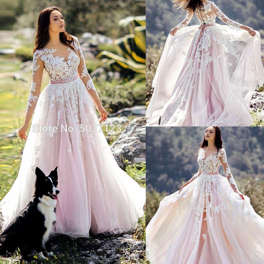 2019 Pink Wedding Dresses Long Sleeve Tulle Wedding Gown Sheer Neck Lace Appliques Sexy A Line Bride Dress Vestido De Noiva