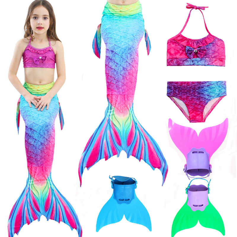 4 piece Mermaid Tails Bikinis Set Swimmable Children With Monofin Fin Girls Kids Swimsuit Mermaid Tail Costume for Girl Swimming