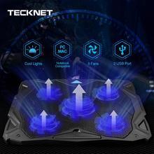 TeckNet Cooling Pad Laptop Notebook 5 Fans Cooler at 1500 RPM Blue LED fits 12-17 for