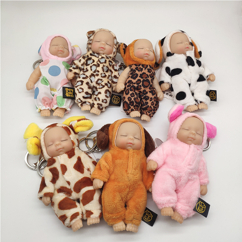 Cute Cartoon Baby Sleeping Doll Keychain PVC Lovely Vinyl Dolls Car Keyring Women Key Holder Gift Child Toy