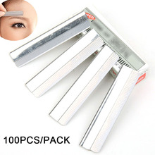 Profession Eyebrow Razor Stainless Steel Microblading 100pcs  Eyebrow Trimmer Brow Shaving Trimmers Make Up Tools Drop Shipping