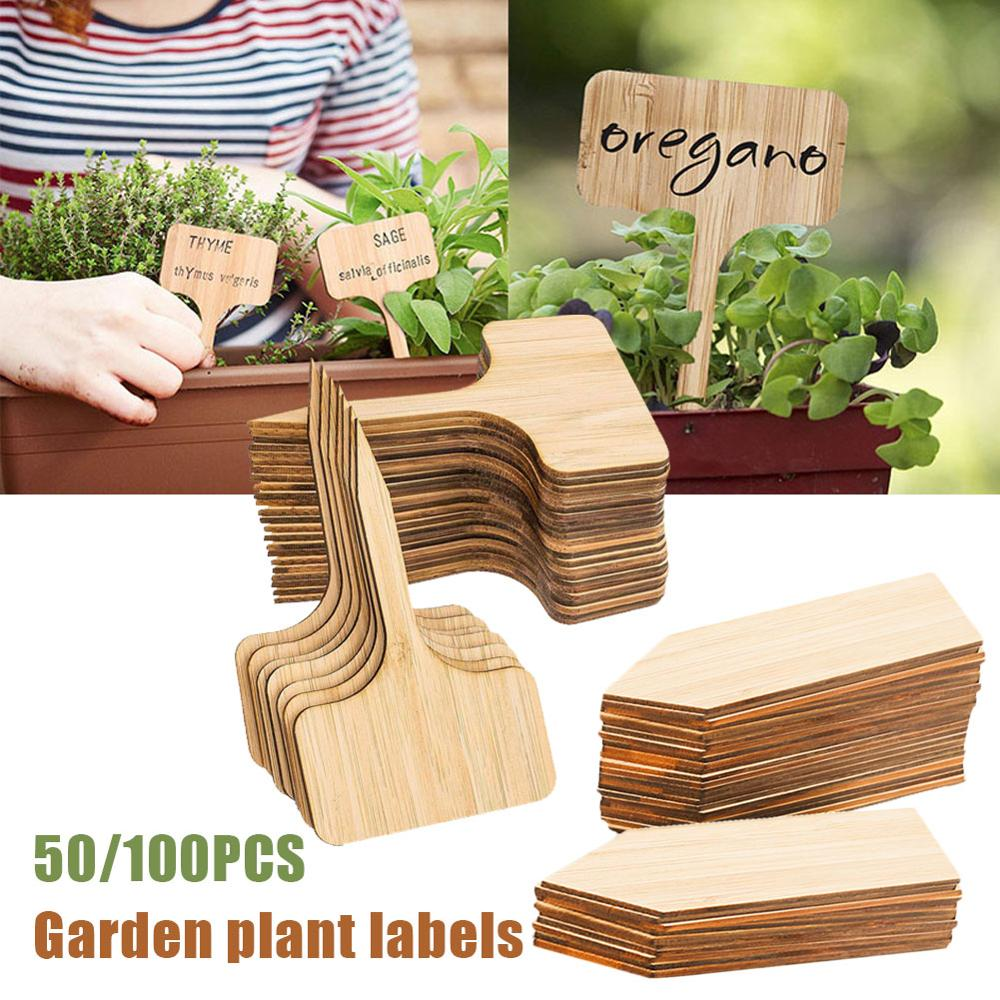 50/100pcs DIY Bamboo Plant Labels Wooden T-type Tags Garden Plant Label Plant Sign Tags Seed Potted Garden Markers Tools