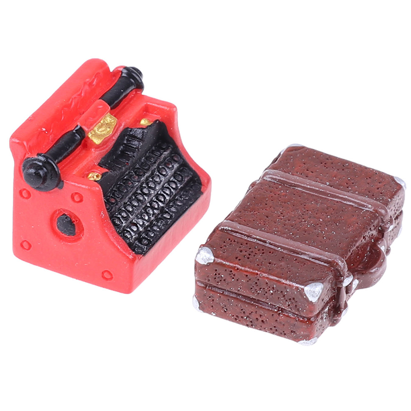Vintage Suitcase Typewriter Dollhouse Miniature 1:12 Scale Fairy Doll Home Life Scene Stimulation Furniture Toys