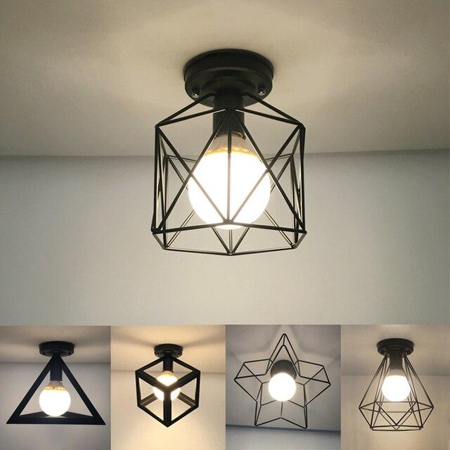Bắc Âu Hiện Đại Đen E27 Đèn LED Ốp Trần 85 240V AC Đèn Cho Nhà Bếp Phòng Khách Phòng Ngủ Hiên Nhà Ban Công nhà Hàng Khách Sạn