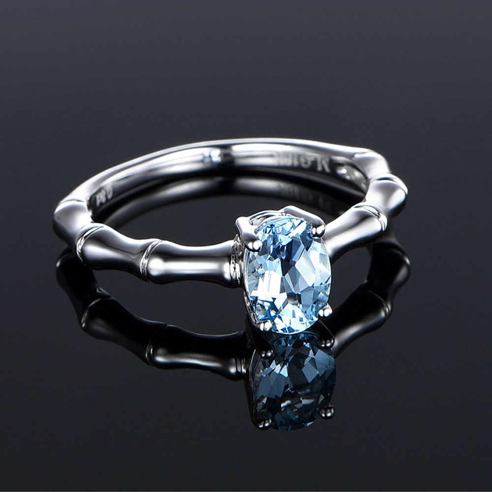Creative CZ Sky Blue stone sliver ring Created AAA+ CZ Colorful Stone Rings For Women Gift Wholesale Dropshipping wedding rings