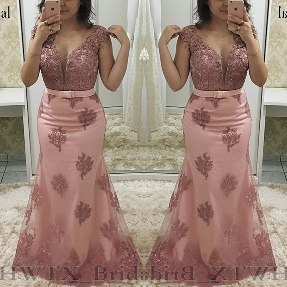 Light Pink Mermaid Mother Of The Bride Dresses Plus Size Sheer Jewel Cap Sleeve Vintage Lace 2020 Long Formal Evening Gown