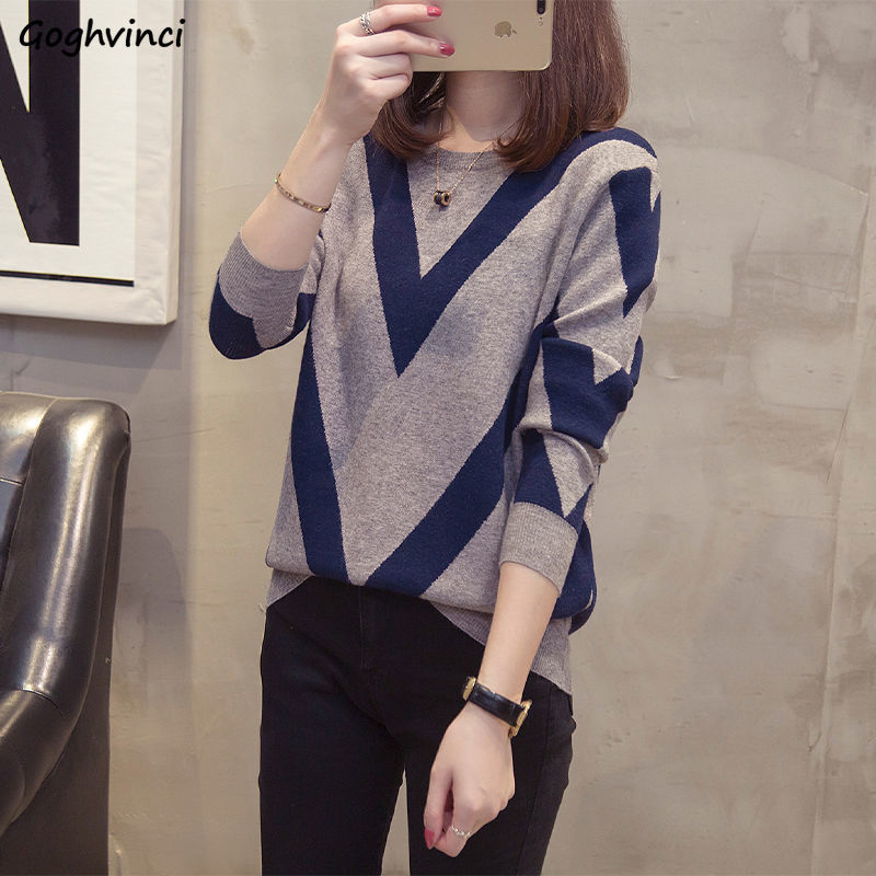 Sweaters Women Autumn O neck Slim Knitting Pullovers Large Size L 5XL Loose Womens Winter Korean style All match Printed Chic