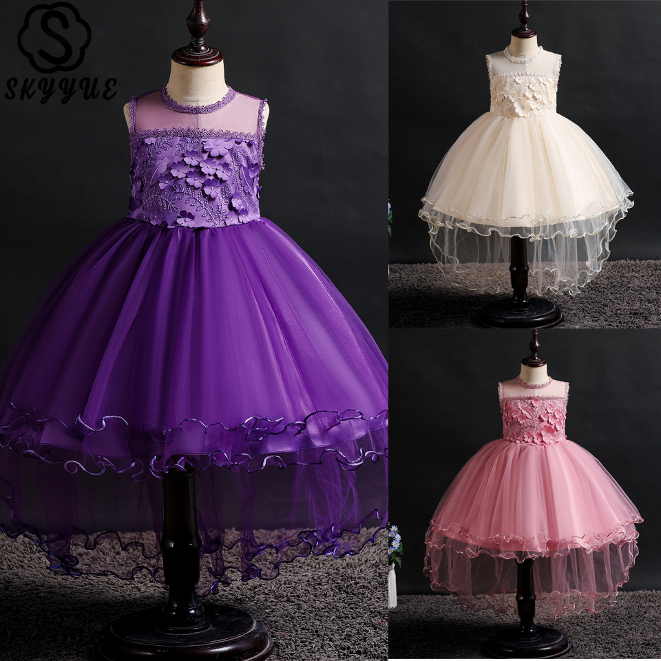 Skyyue O-Neck Appliques Flower Girl Dresses for Wedding Sleeveless Embroidery Ball Gown Kid's Party Communion Dress 2019 2002