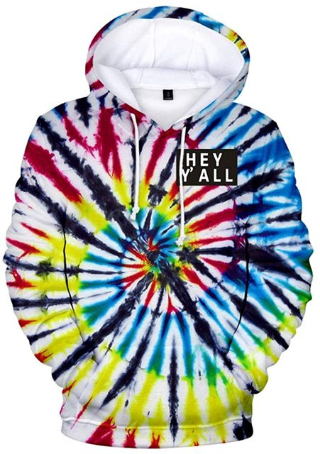 2020 Addison Rae: Hey Y'all Tie Dye 3D Hoodie Men/Women Casual Fashion Long Sleeve Hoodies Sweatshirts Tops Outwear Tracksuit 3