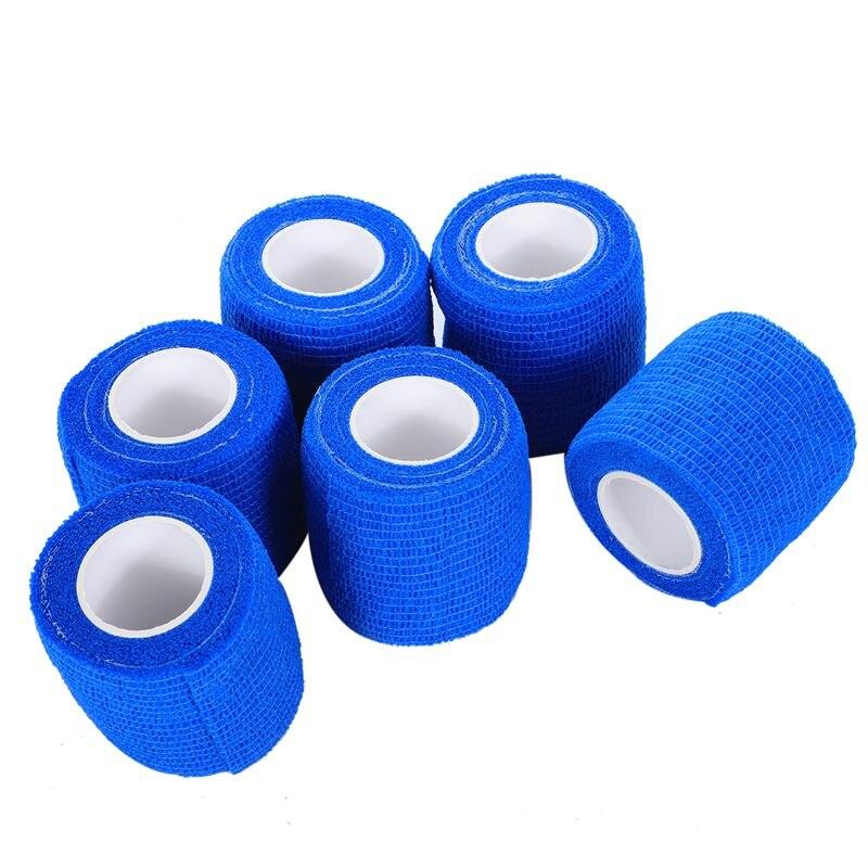 6 PCS First Aid Medical Self-Adhesive Elastic Bandage Gauze Tape (Blue, 5cm)