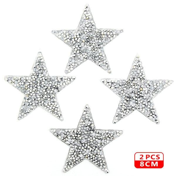 Стразы со звездами, смешанные размеры, нашивки, нашивки с вышивкой, термо-Стикеры для одежды, 5 видов цветов, блестки, нашивки для одежды, сделай сам - Цвет: 8cm Sliver 2pcs